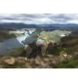 Polygonal world map on blurred landscape vector image