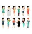 Set of Woman Characters vector image