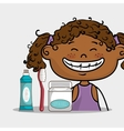 smiling cartoon girl with dental care implements vector image