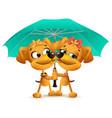 yellow dog loving couple holding an umbrella vector image