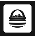 Basket of berries icon simple style vector image