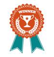 winner award badge with wheat wreath vector image