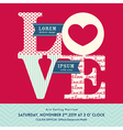 LOVE word wedding invitation design template vector image vector image