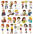 Business people doing different activities vector image