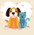 cartoon - friendly dog and cat vector image