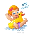 zodiac sign Aquarius child enjoys swimming water vector image