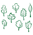Icons and symbols of green trees vector image