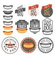 Set of vintage hot dog labels and design elements vector image