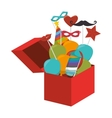 surprice box with carnival elements vector image