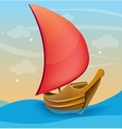 Romantic boat with red sail on a sunset background vector image vector image