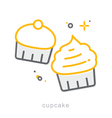 Thin line icons Cupcake vector image