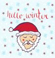 hello winter with cute santa claus winter hand vector image
