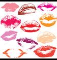 Lip print track set vector image