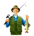 fisherman with fish vector image vector image