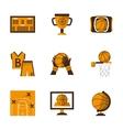 Flat style basketball orange icons vector image