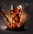 A glass of ice in a cola spray high detailed vector image