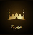 islamic mosque and arabic pattern gold glow vector image