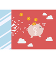 Piggy bank jump and broke glass window vector image