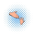 Helping hands icon comics style vector image