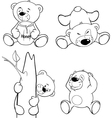 A set of bears Coloring book vector image