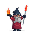 cartoon evil wizard or bad magician icon vector image