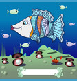 cartoon fish in the depths of the ocean vector image