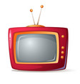 cartoon red tv shadow and glare vector image