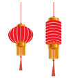 chinese new year red lanterns are round and vector image