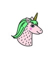 cute handdrawn unicorn head vector image