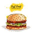 Hand drawn Hamburger or Sandwich vector image