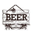 old wooden signboard beer vector image