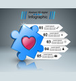 puzzle logo heart infographics vector image