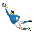 soccer goalkeeper catches the ball on white vector image