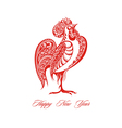Stylized red rooster vector image vector image