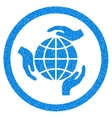 Global Protection Rounded Icon Rubber Stamp vector image