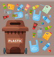 recycling garbage plastic elements trash tires vector image