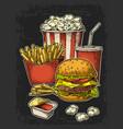 poster with fast food cola hamburger hotdog vector image