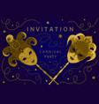 horizontal blue carnival party invitation card vector image