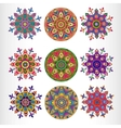Set of nine ornamental round lace pattern vector image vector image