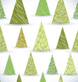 Christmass tree seamless pattern hand drawn lines vector image vector image