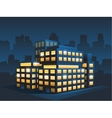 generic corporate modern office building at night vector image