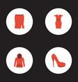 flat icons apparel heeled shoe sweatshirt and vector image