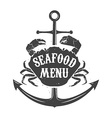 seafood meny label template vector image