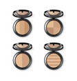 set of face makeup powder in case with mirror vector image