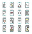 smart phone functions and apps icon set vector image