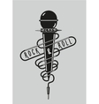 Vintage music poster with a microphone Rock sign vector image