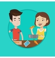 Couple cooking healthy vegetable meal vector image