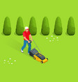 man mowing the lawn with yellow lawn mower in vector image