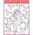 Schoolgirl and flying numbers vector image