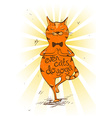 Cartoon red cat doing tree position of yoga vector image